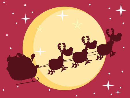 Red Silhouette Of Santa And A Reindeers Flying In Moon