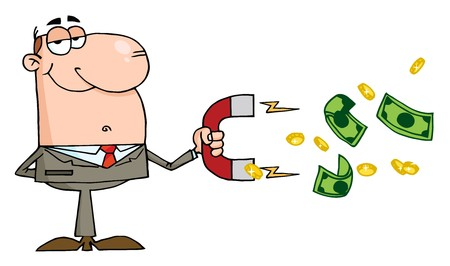rnart: Happy Businessman Using A Magnet To Attracts Money  Illustration