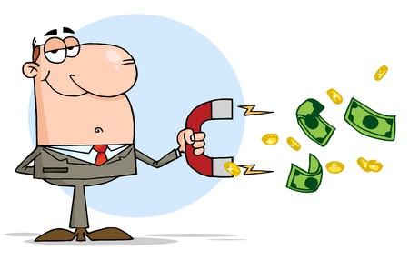 Hombre de negocios mediante un imán para atrae dinero  Ilustración de vector