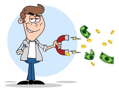 magnetismo: Giovani con un magnete per attira Money