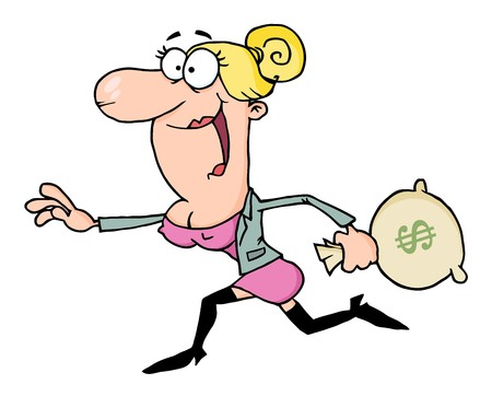 Happy Business Woman Running With The Money Bag