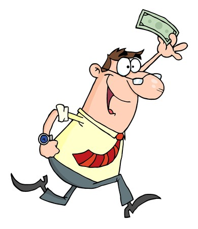 cartoon money: Lucky Businessman Running With Dollar In Hand