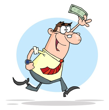 Happy Businessman Running With Dollar In Hand