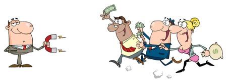 자석을 사용하는 사업가 돈으로 사람들을 끈다. 일러스트