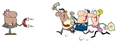 magnetismo: Hombre de negocios estadounidense mediante un im�n atrae gente con dinero