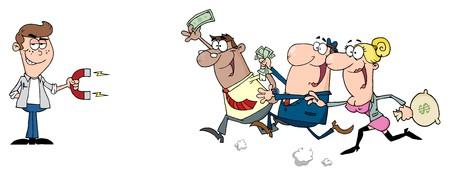 Giovane imprenditore con un magnete attira persone con denaro