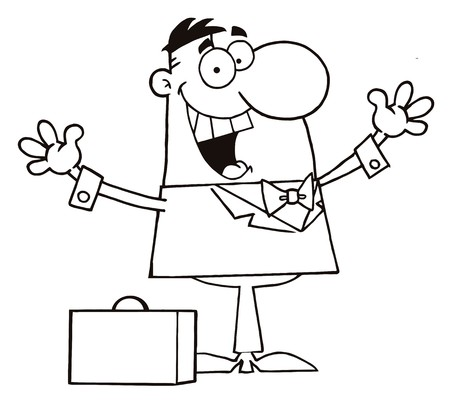 rnart: Coloring Page Outline Of A Happy Businessman Holding His Arms Up By A Briefcase  Illustration