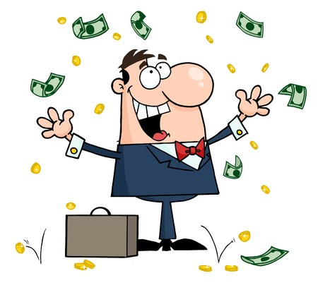 stock clip art icon: Successful White Businessman Standing Under Falling Money  Illustration