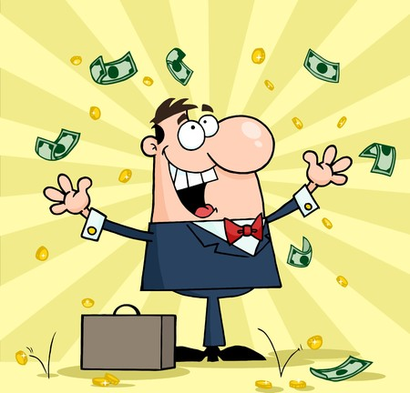 business graphics: Successful White Businessman Standing Under Falling Money  Illustration