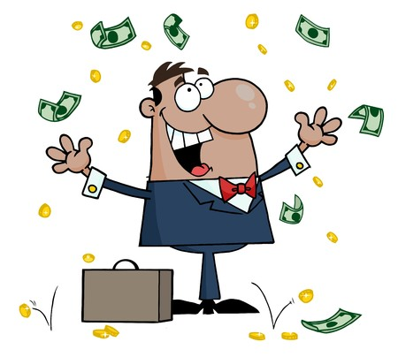 Successful Hispanic Businessman Standing Under Falling Money  Vector