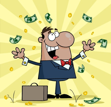 Successful Black Businessman Standing Under Falling Money  Vector