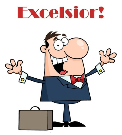 excelsior: Happy Businessman Holding His Arms Up By A Briefcase Under Excelsior