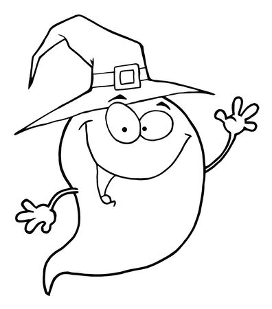 Outlined Happy Halloween Ghost Flying
