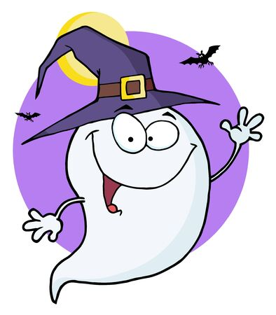 ghost character: Happy Halloween Ghost Flying In Night