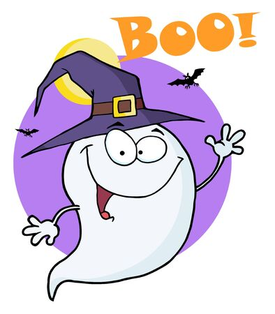 Happy Halloween Ghost Flying In Night And Text Boo!