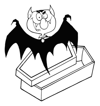 Outlined Happy Vampire Out Of The Coffin