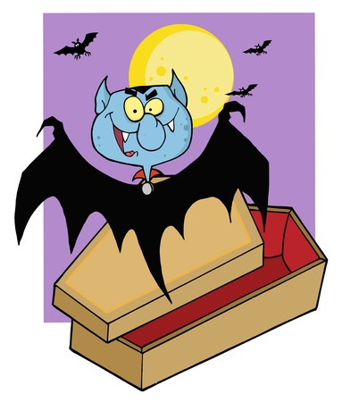 Happy Vampire Out Of The Coffin And Bats Near A Full Moon  Vector
