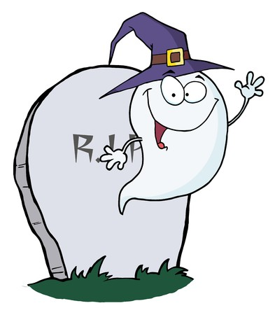Happy Halloween Ghost Flying Next To Tombstone  Illustration