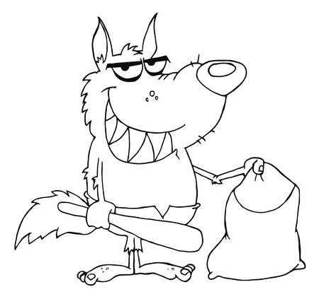 outlined isolated: Outlined Smiled Werewolf Holding Club And Bag  Illustration