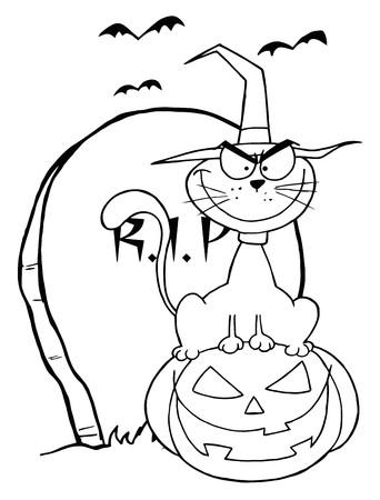 Geschetst Halloween kat op pompoen in de buurt van Tombstone
