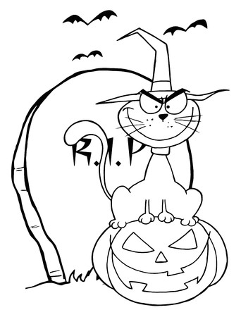 Outlined Halloween Cat on Pumpkin Near Tombstone Vector