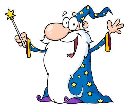 star man: Wizard Waving And Cape Holding A Magic Wand