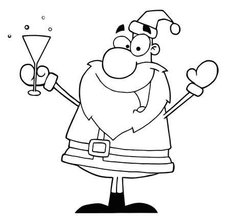 Outline Of Santa Drinking Champagne  Illustration
