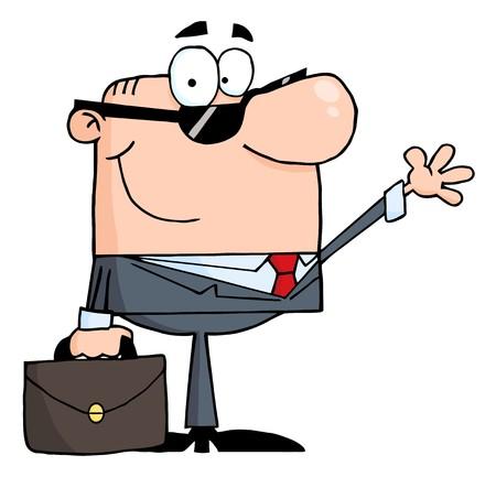 Friendly Businessman Waving A Greeting  Stock Illustratie