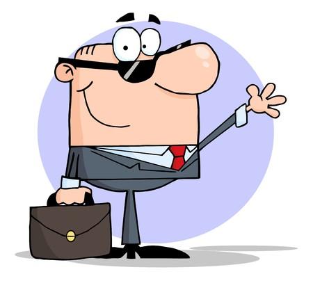 Businessman Waving A Greeting Vector