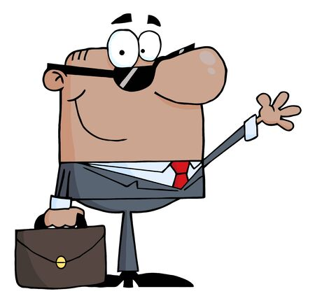 Friendly African American Businessman Waving A Greeting  Vector