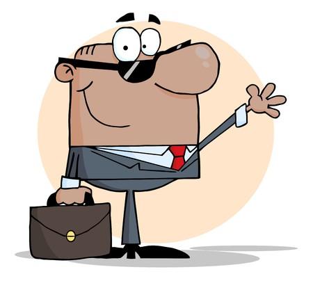 hombre caricatura: Hombre de negocios estadounidense amistosa Waving un saludo