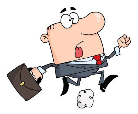 Businessman Running Carrying A Briefcase To Work