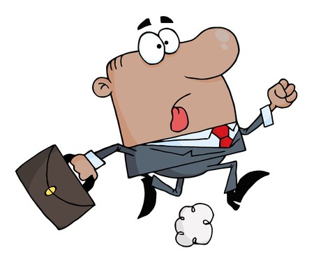 African American Businessman Running Carrying A Briefcase To Work  Vector