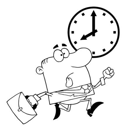 Outlined Businessman Being Late  Vector