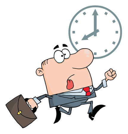 Businessman Being Late Vector