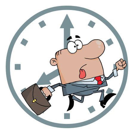 African American Late For Work Vector