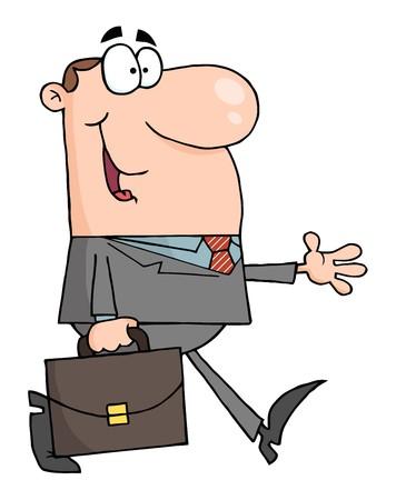 Smiled Businessman Walking  矢量图像