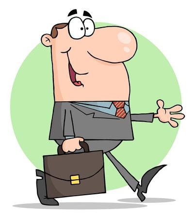 Happy Businessman Walking  Stock Vector - 8018907