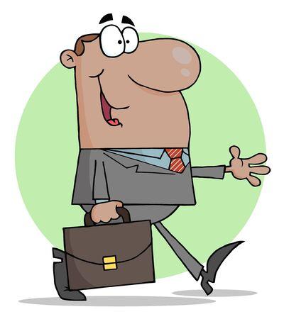 stride: Happy African American Businessman Walking  Illustration