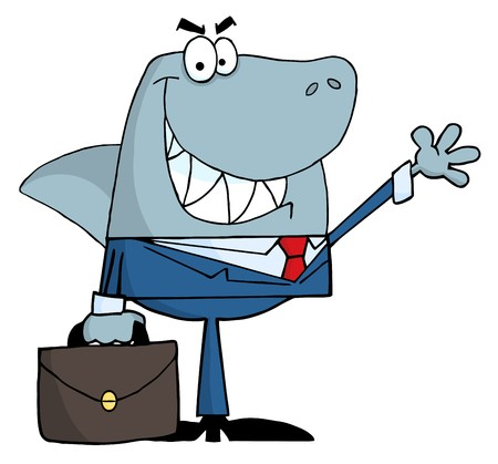 scam: Smiled Business Shark Waving A Greeting