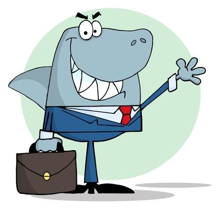 Business Shark Waving A Greeting