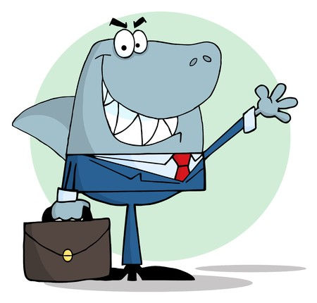 Business Shark Waving A Greeting  Vector