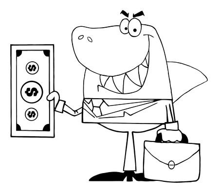 deceive: Outlined Smiled Business Shark Holding Cash  Illustration