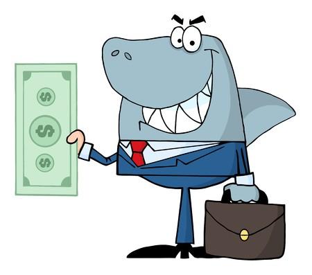 Smiled Business Shark Holding Cash  Vector