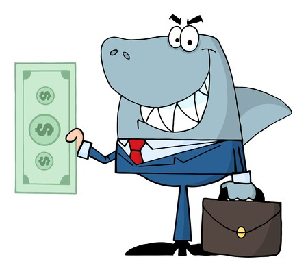 the shade: Smiled Business Shark Holding Cash