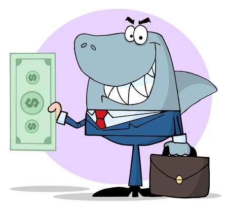 tiburones: Caja de Shark Holding de negocio  Vectores