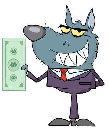 Smiled Wolf Business man Holding Cash  Vector