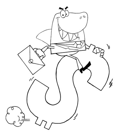 Outlined Business Shark Businessman Riding On A Dollar Symbol