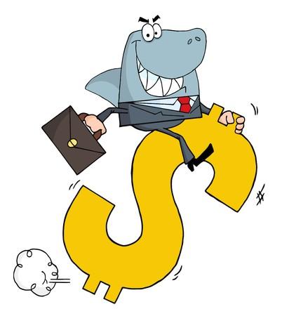 Business Shark Businessman Riding On A Dollar Symbol