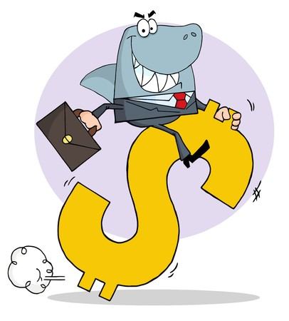 Successful Business Shark Businessman Riding On A Dollar Symbol